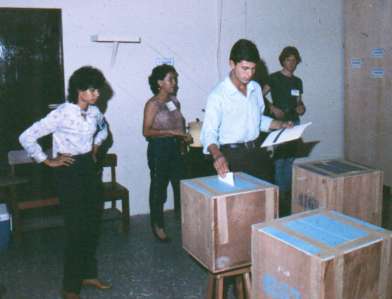 Placing the ballot in the box